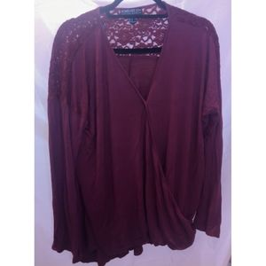 Forever 21 Plus Size Burgundy Surplice Top